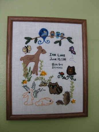 crewel birth announcement wall hanging embroidery