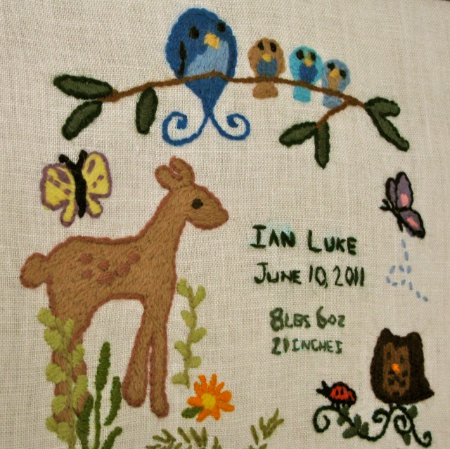crewel embroidery birth announcement