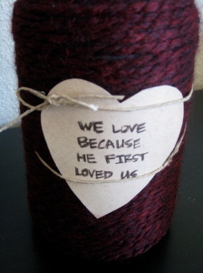 yarn wrapped jar valentines diy valentines decor