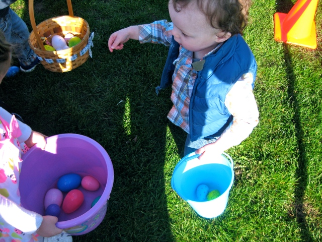 He kept putting eggs in other kids' baskets, too funny!